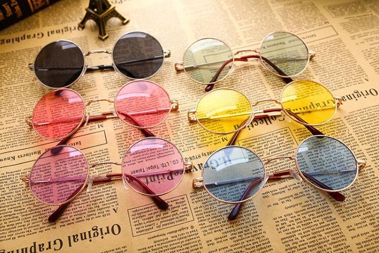 New Brand Designer Classic Round Sunglasses Men Women Vintage Candy Color Sun Glasses