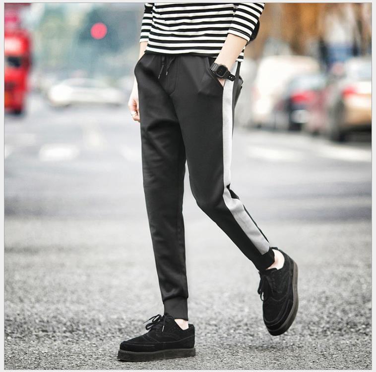 Calça esportiva Homens Comprimento Completo Preto Cinza Patchwork Design Estilo Britânico Moda 2017 Calças de Lápis Taperred Calças Frete Grátis