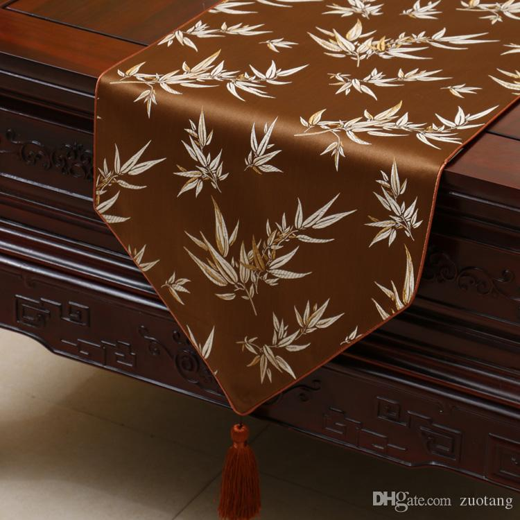Short Length Bamboo Jacquard Table Runner Luxury High End Chinese style Silk Brocade Tea Table Cloth Dining Room Decor Table Mats 150x33cm