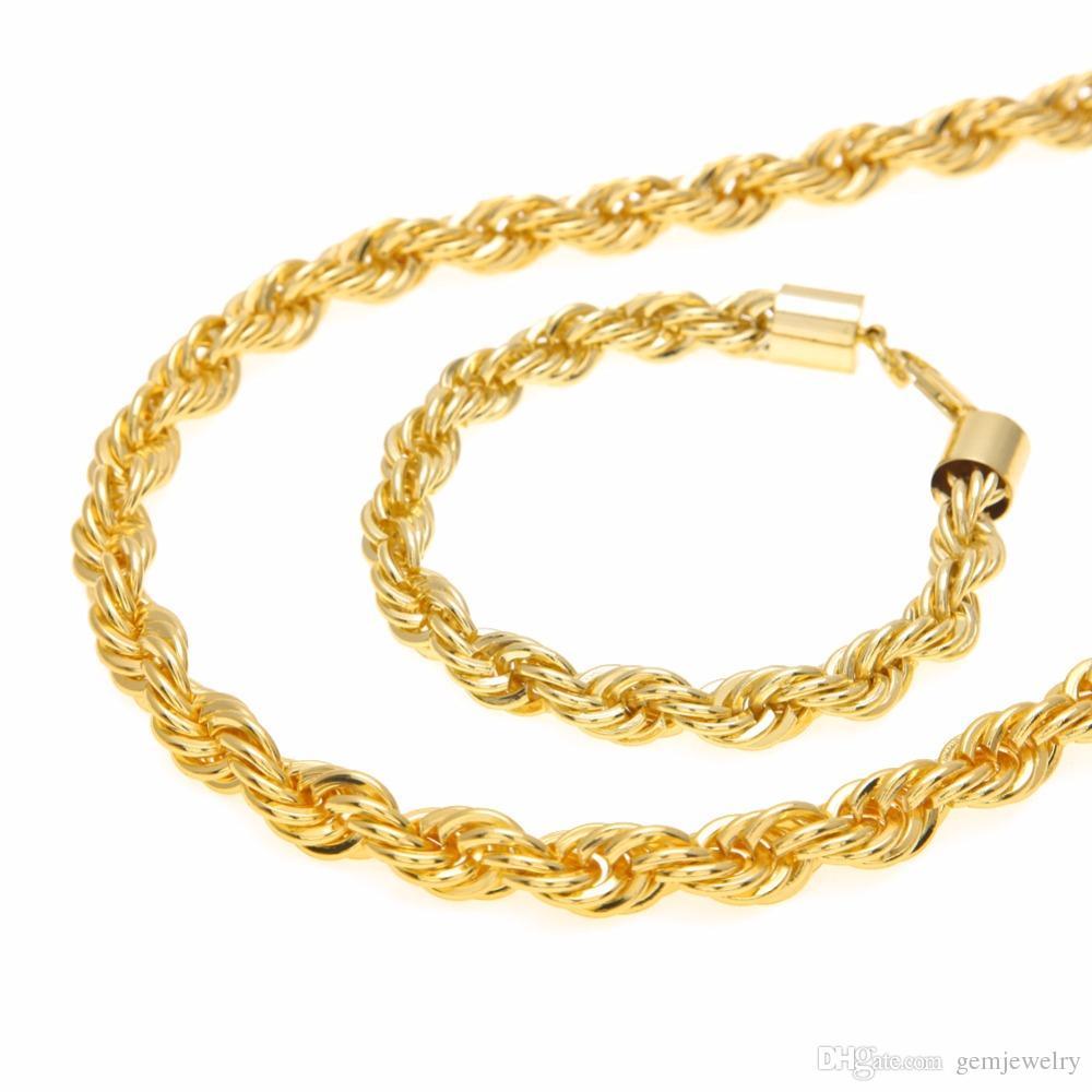Bakır Erkek Halat Zincir Seti 6 MM Altın Gümüş Zincir Kolye Twisted Örgülü Zincir Bilezik Takı Seti