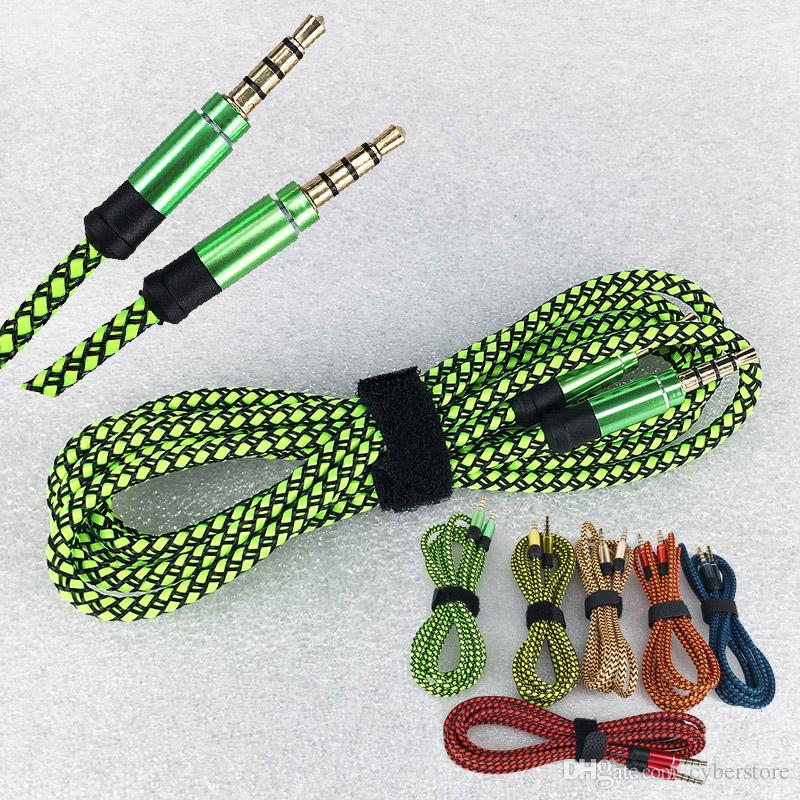 6 colors Male Braided Stereo Audio Auxiliary AUX Cable Cord PC Car Phone For iphone Samsung Galaxy Cellphone tablet, speaker, ipod ipad