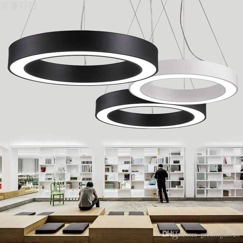 office pendant lighting. discount modern office led circle pendant lights round suspension hanging lamp ring chandelier lighting stainless steel light from a