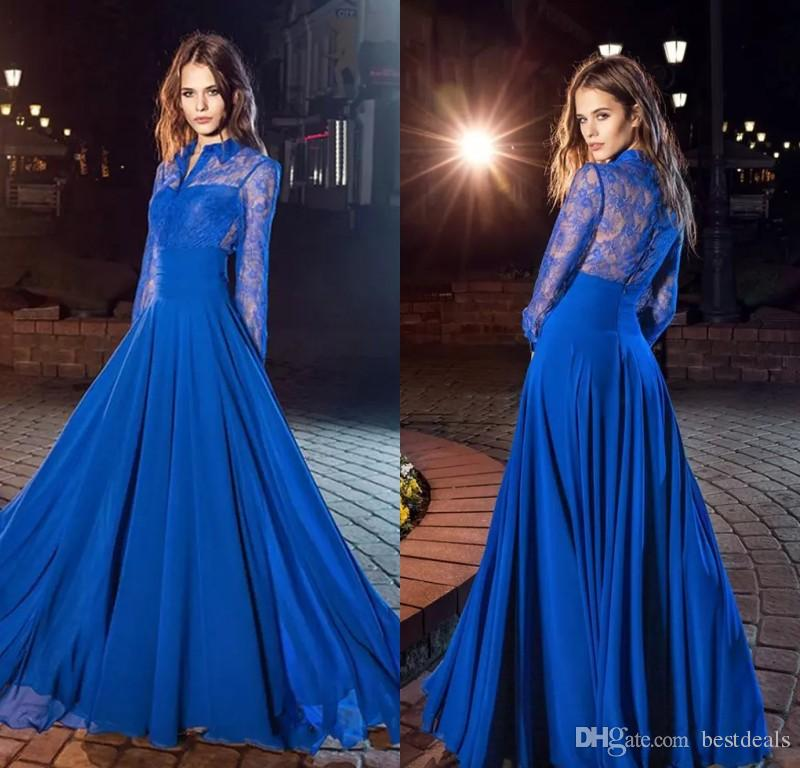 ad3174ddb9 Amazing 2017 A Line Royal Blue Lace Prom Dresses With Long Sleeves High  Neck Covered Button Back Cheap Evening Dresses Formal Gowns Girls Prom  Dresses Gold ...