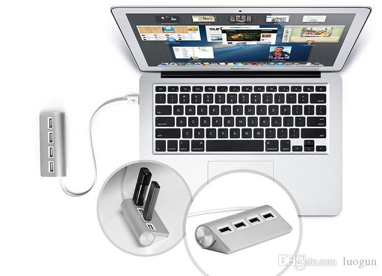 мини-4PORT HUB несколько микро-USB-концентратор USB разветвитель usb2.0 multi алюминий порта