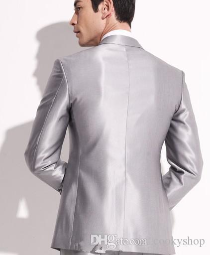 New Silver Men's Dresses Groom Wear & Accessories Groom Suits Formal Groom Tuxedos Cheap Men Suits Wedding Dresses Custom Made handsome