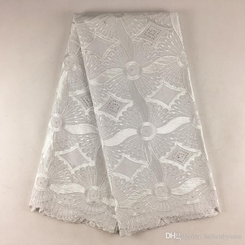 Cordón de voile suizo africano de alta calidad 079, envío gratis 5 yardas / paquete, ropa de encaje de voile de boda africano 100% algodón