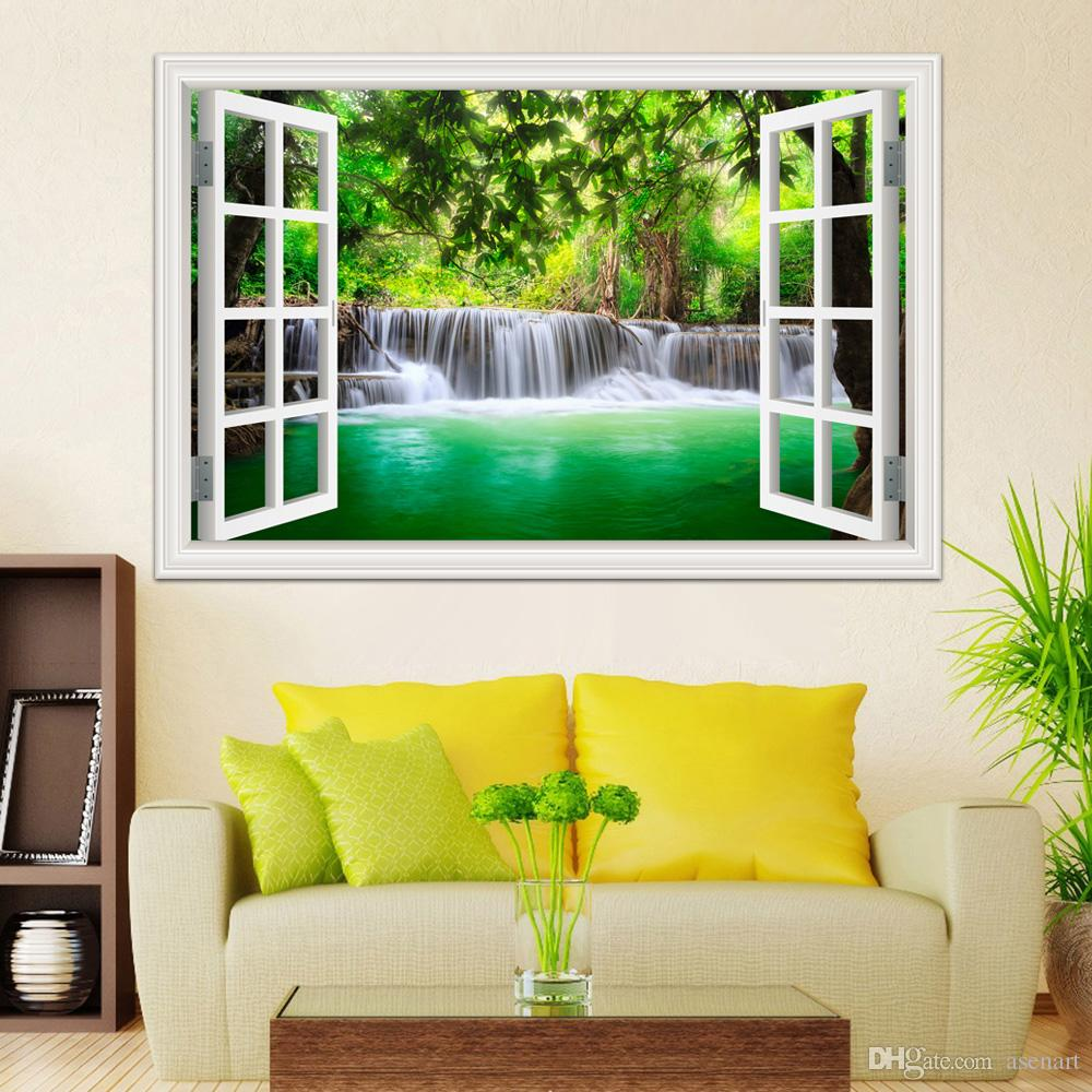 3d window view wall sticker decal sticker home decor living room nature landscape decal waterfall mural wallpaper wall art design wall decals design wall