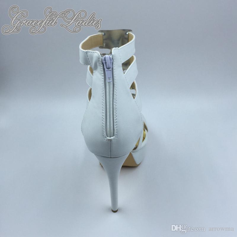 2016 Chaussures De Mariage De Mariée Talons Hauts Minces Real Image Sandales Pour Femmes Avec Des Talons Hauts Faits Sur Mesure Plus Taille Couvert Dos Fermeture Éclair Sexy