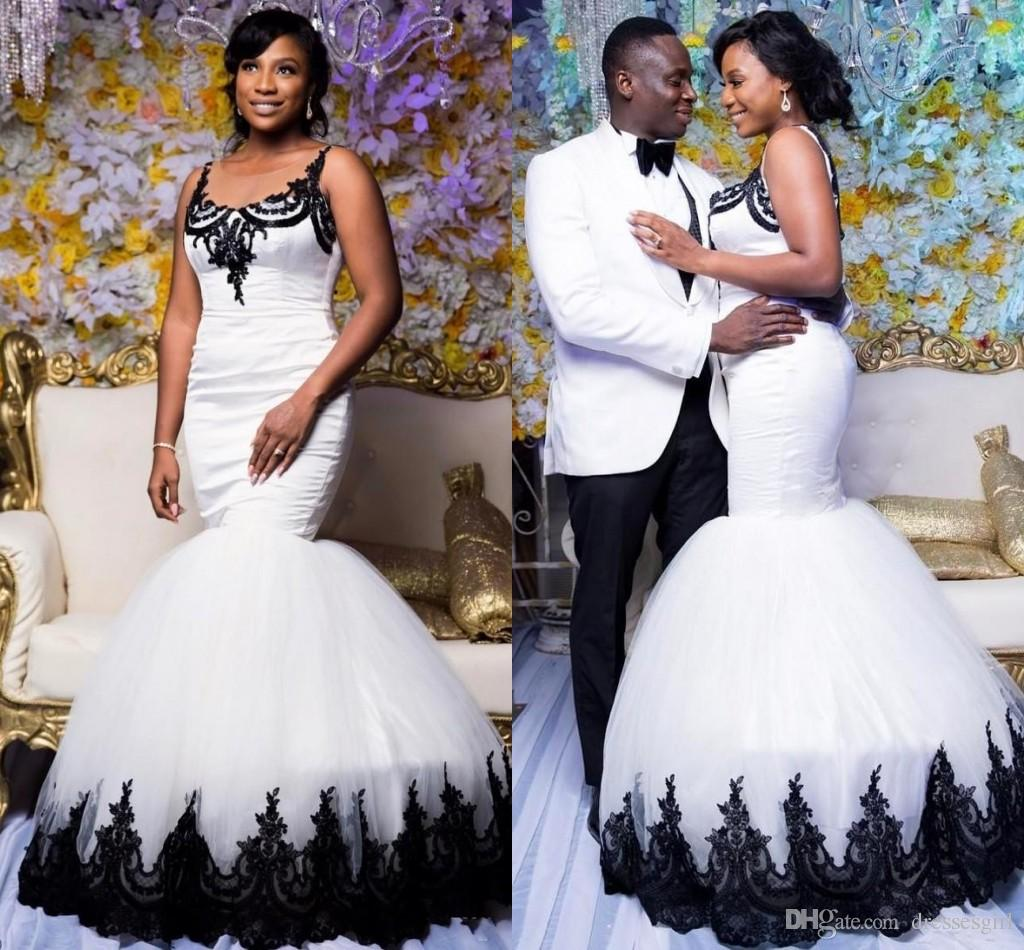 African Trumpet White Long Wedding Dresses With Black Appliques