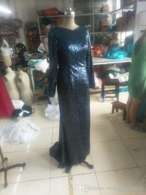 Sparkly Dark Navy Sequins Morklänning Långärmad Mamma Brudklänningar Anpassad Full Back Open Back Formella klänningar för bröllop