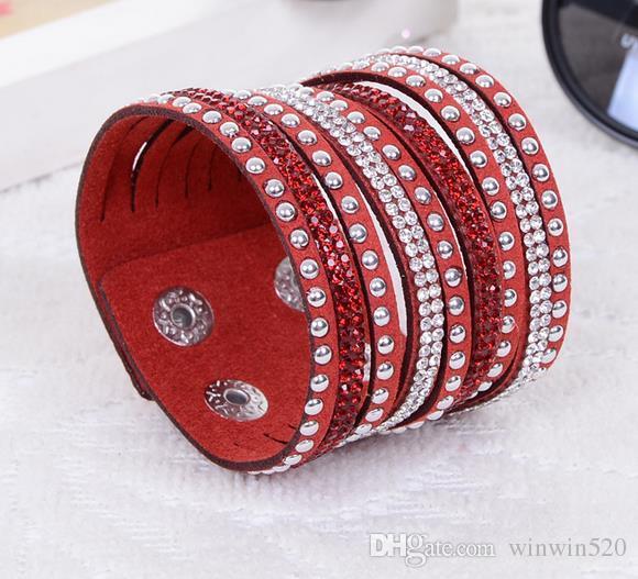 9 cores Nova pulseira de tênis de couro unisex multicamada pulseira de couro presente de Natal charme pulseiras jóias vintage para mulheres