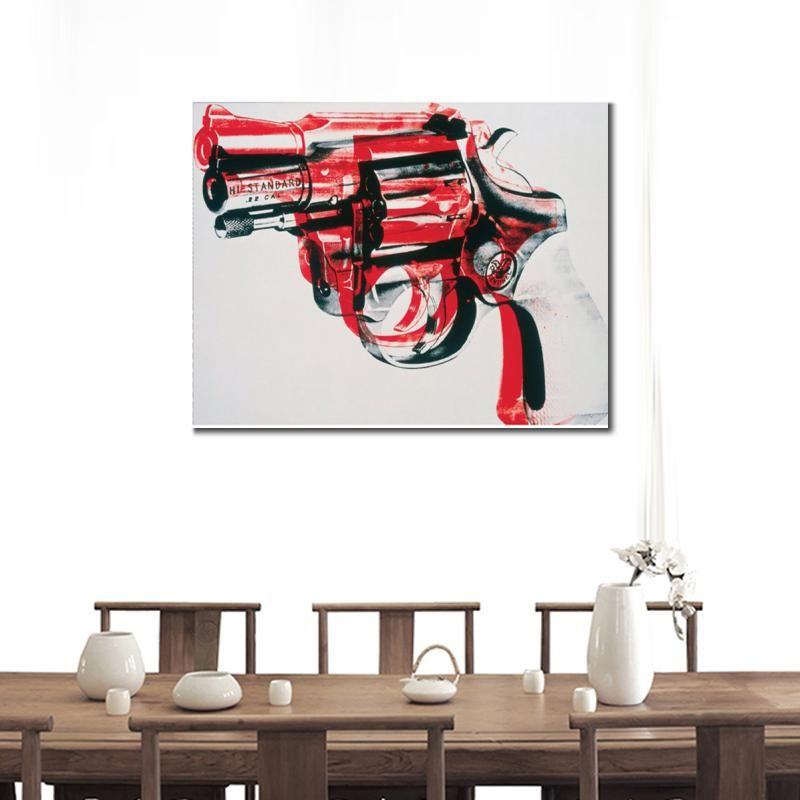 Ręcznie malowany abstrakcyjny obraz olejny pistolet czarny i czerwony na białym nowoczesnej sztuki do dekoracji ściennych salon wystrój