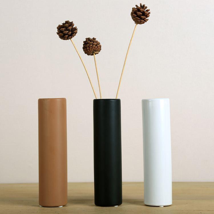 Simple Modern Matt Black Ceramic Art Vase Living Room Dining Desktop