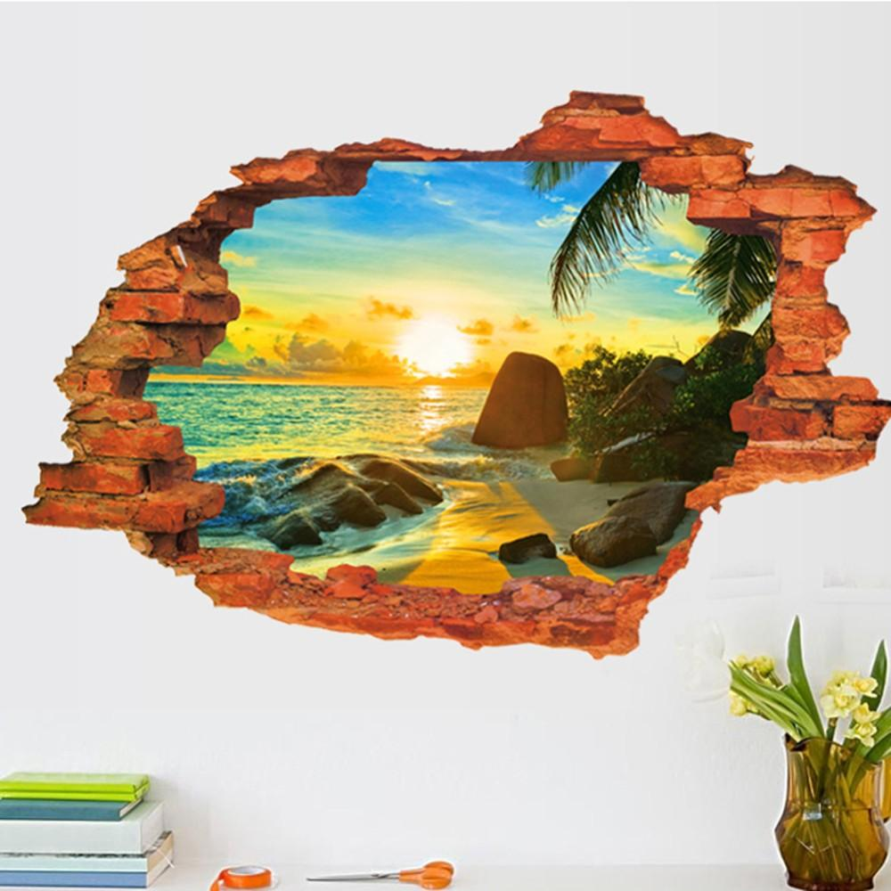 3d broken wall decal sunset scenery seascape island coconut trees 3d broken wall decal sunset scenery seascape island coconut trees household adornment can remove the wall stickers wall art vinyl decals wall art vinyl