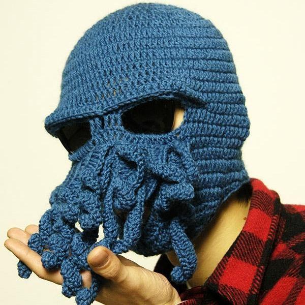 Novelty Cool Handmade Knitting Wool Funny Animal Cthulu Beard Octopus Hats  Caps Crochet Tentacle Beanies Men Women Unisex Gifts Mens Hats Straw Hat  From ... eefefb1e2ca