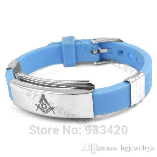 ! Classic Masonic Bracelet Stainless Steel Jewelry Blue Rubber Masonic Bracelet Motor Biker Men Wholesale SJB01215B
