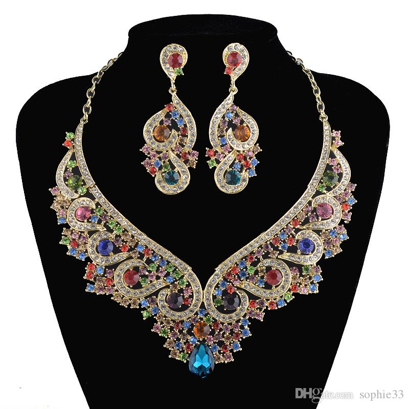 2018 Fashion Bridal Crystal Jewelry Sets India Style Multi Color