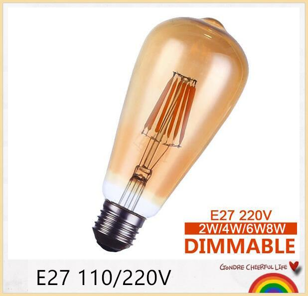 LED Edison Filament bulb replace incandescent bulb Golden led dimmable ST64 2W 4W 6W 8W E27 110V/220V energy saving lamp