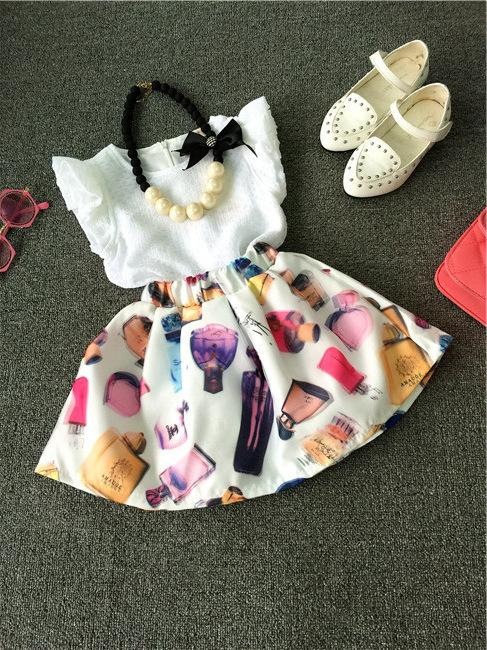 Crianças Da Criança do verão 2-7 T Meninas Roupas Roupas Sem Mangas T-shirt + Vestido de Saia Impressão Perfume Legal Set sem colar K7185
