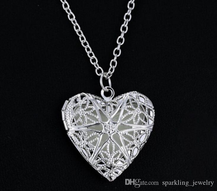 Heart Silver Lockets Necklaces For Photos For Women For Gift For Giirls 45CM Chains wzwH6TuSk