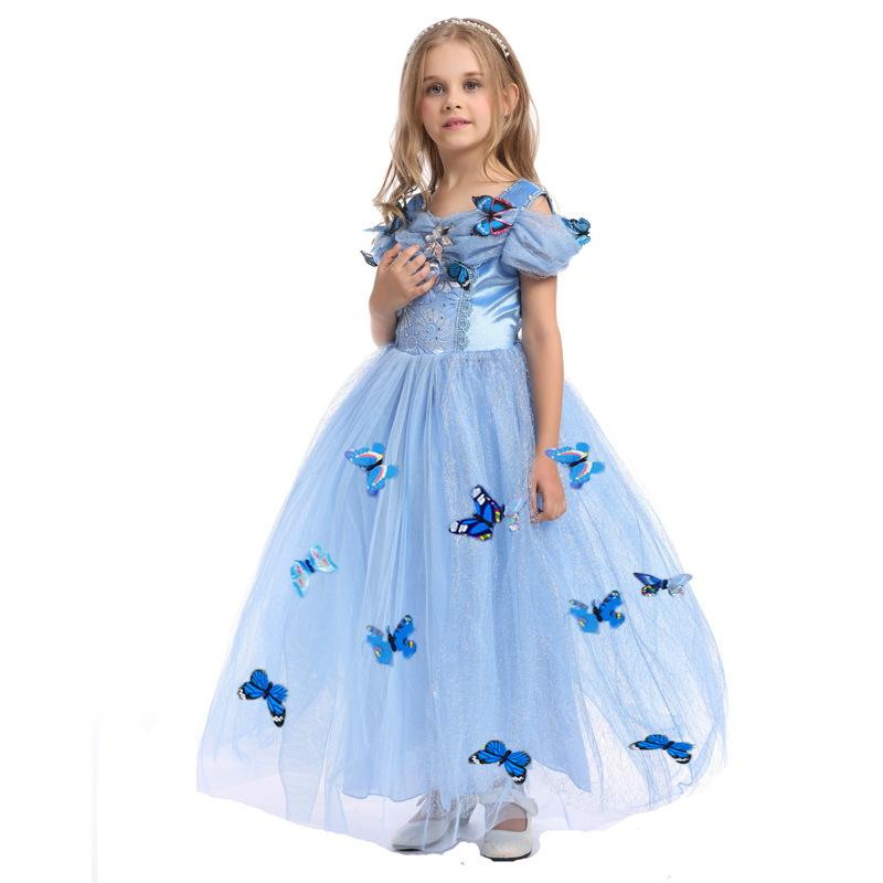 2016 new baby girls Cinderella dress children christmas halloween dress up clothes kids cosplay tutu skirts with butterfly C-7