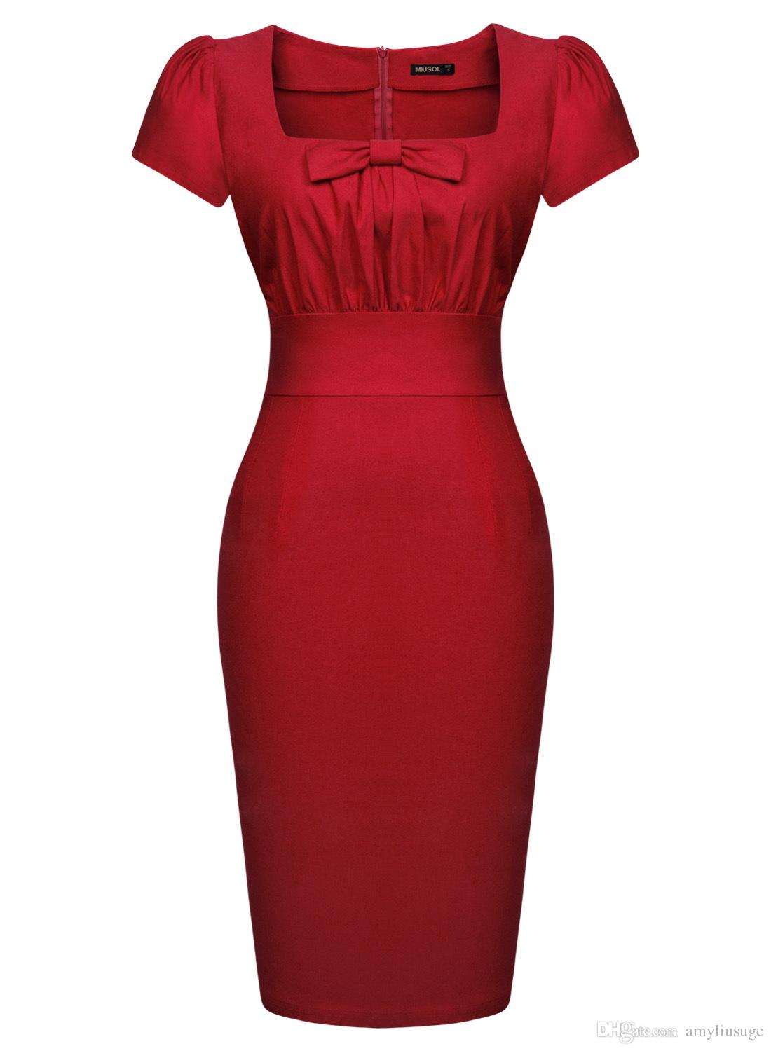 Women's Vintage Retro Square Neck 1940's Fitted Pencil Bodycon Slim Work Party Dresses Cocktail Party dress 3210