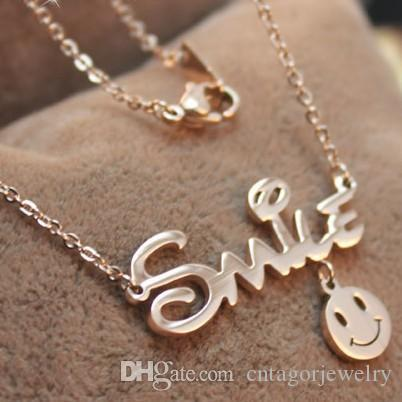 Wholesale Happy Smiley Smile letters plated 14K Rose Gold color gold stainless steel necklace female Korean jewelry earrings