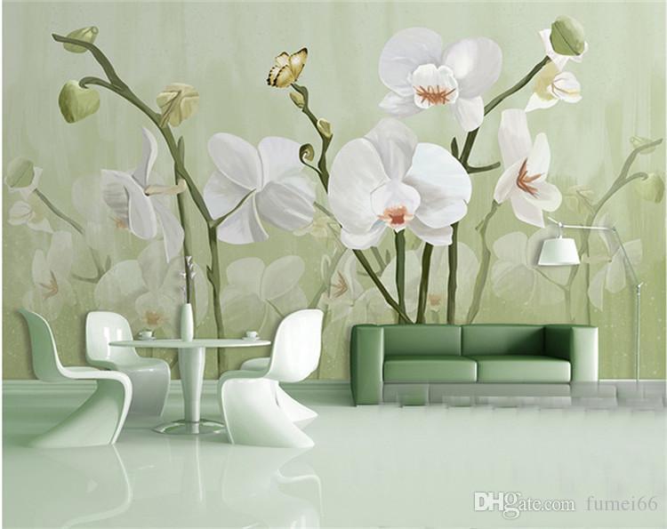 Grosshandel Orchidee Tapeten Floral Tapeten Rollen Fur Wohnzimmer