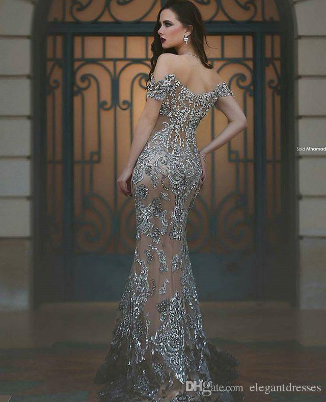 2021 Said Mhamad sirena apliques de tul de baile de cristal de novia por encargo de los vestidos de noche del partido formal