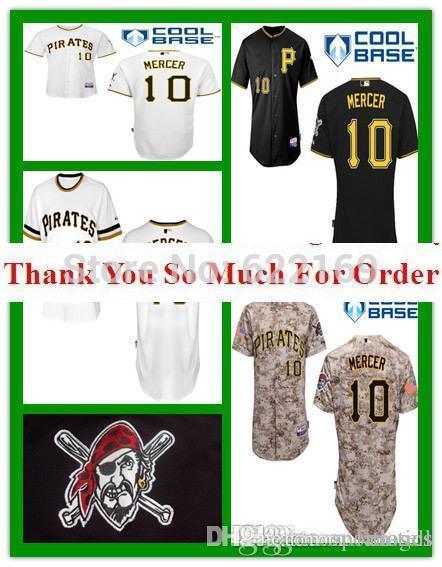 544dde4b8 ... 2017 2016 New 10 Jordy Mercer Jersey Pittsburgh Pirates Throwback Jerseys  Cool Base Mens Baseball Home ...