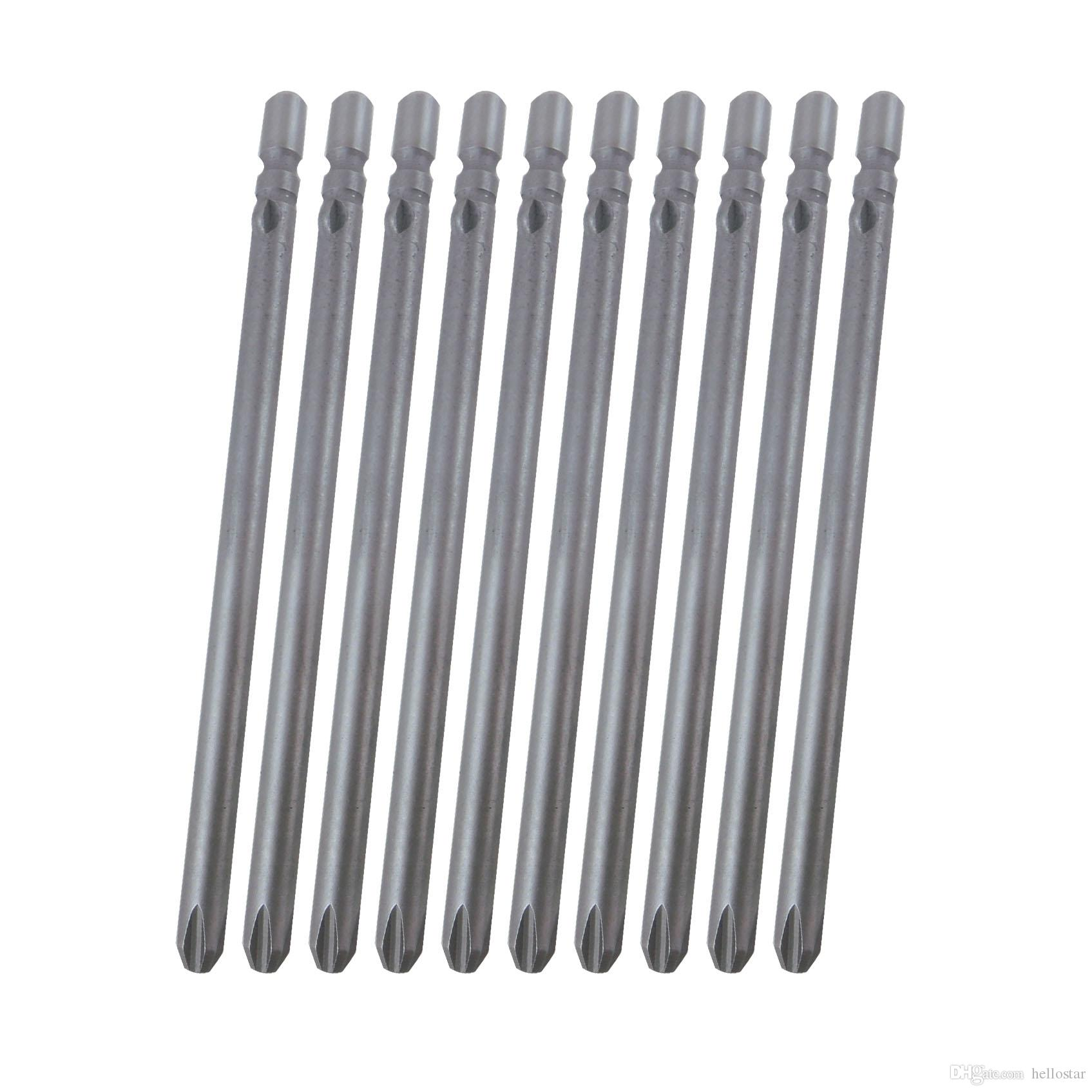 Shank 4mm Diameter Length 80mm S2 Material Silvery Gray Magnetic Phillips Screwdriver Bits PH00 PH0 PH1 PH2 (10pcs pack)