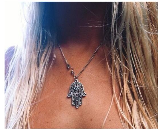 Silver Hamsa Hand Necklace Hand of Fatima Pendant Amulet Evil Eye Jewelry Necklaces Pendants Jewellry Charm Statement Necklace women gifts