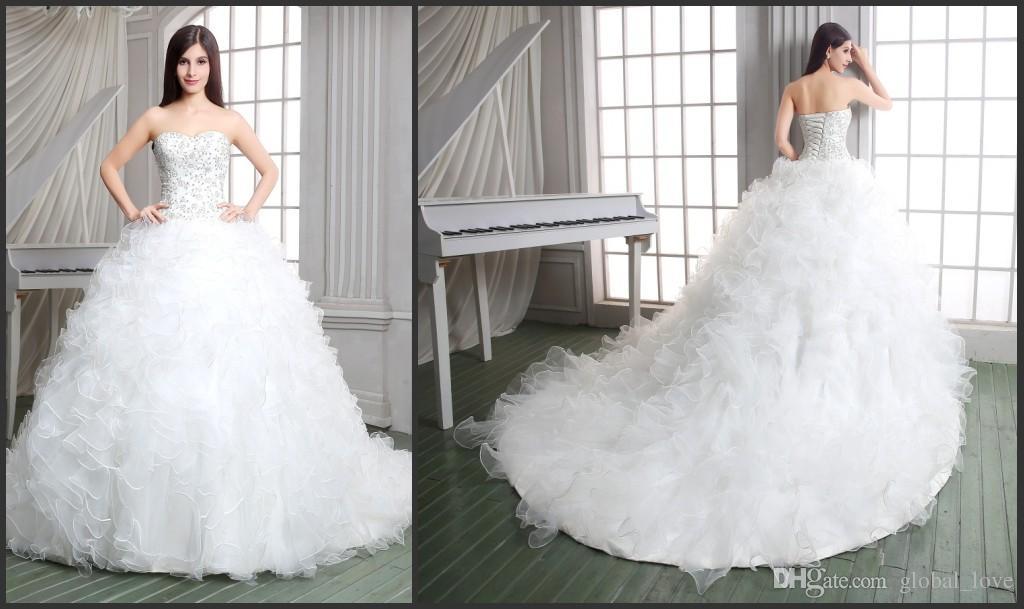 Ruffle Ball Gown Wedding Dress: 2016 Luxury Princess Vintage Ball Gown Wedding Dresses