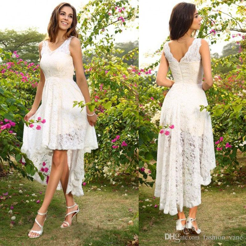 Discount 2017 full high low country wedding dresses cheap v neck discount 2017 full high low country wedding dresses cheap v neck short knee length bridal gowns fashionvane wedding clothes wedding dress sale from junglespirit Images