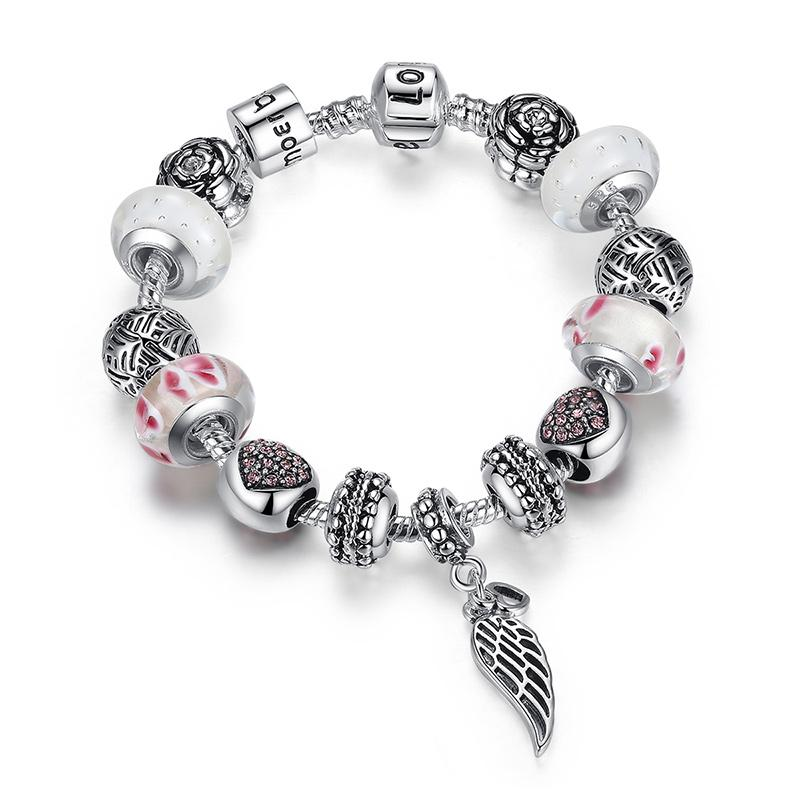 Pandora Style Jewelry: European Pandora Style Charm Bracelets With Red Heart