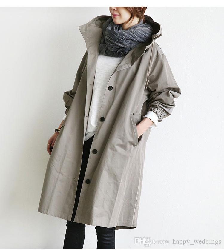 ABD İNGILTERE Yeni varış 2018 Moda Bahar Sonbahar Kadınlar Ordu yeşil Hippi Boy Siper Uzun Coat Pamuk Kadın casaco palto