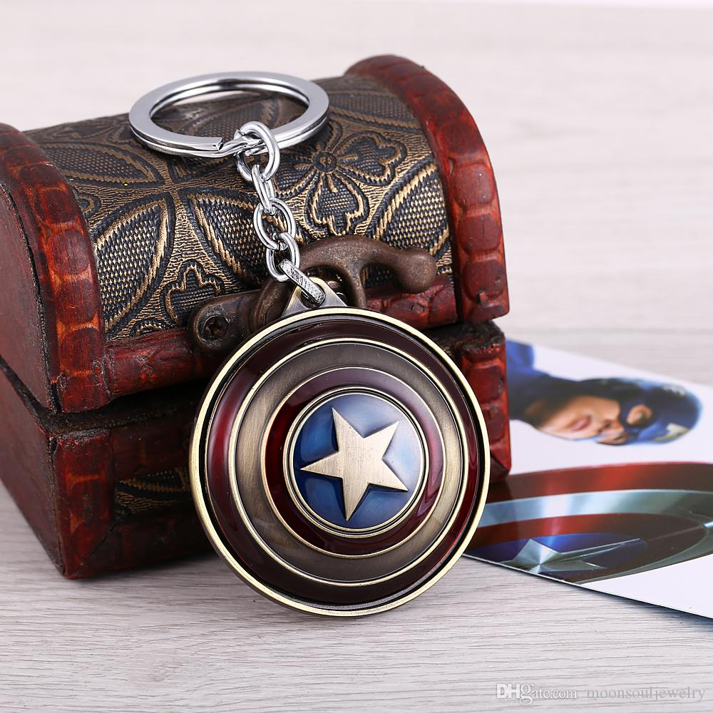 MS Jewelry The Avengers Captain America Key Chain Rotatable Shield Key Rings For Gift Chaveiro Car Keychain Key Holder Souvenir