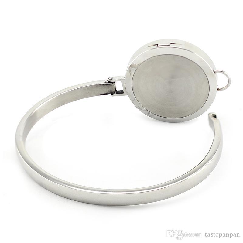 Commercio all'ingrosso 316L in acciaio inox magnetico diffusore di profumo olio essenziale diffusore braccialetto braccialetto con 30mm medaglione