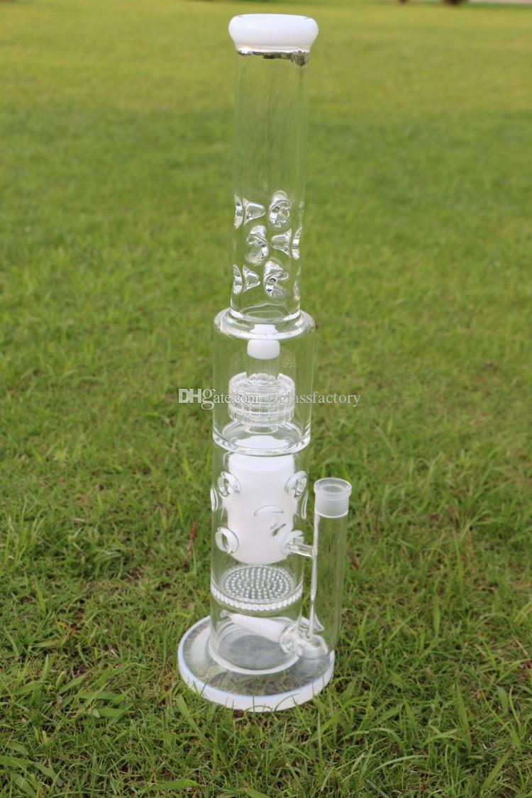 Big Bong 7mm pipas de agua blanca mancuerna con nido de abeja de 75 mm perforada y el vidrio Birdcage PERC bong altas 12 catcheres hielo