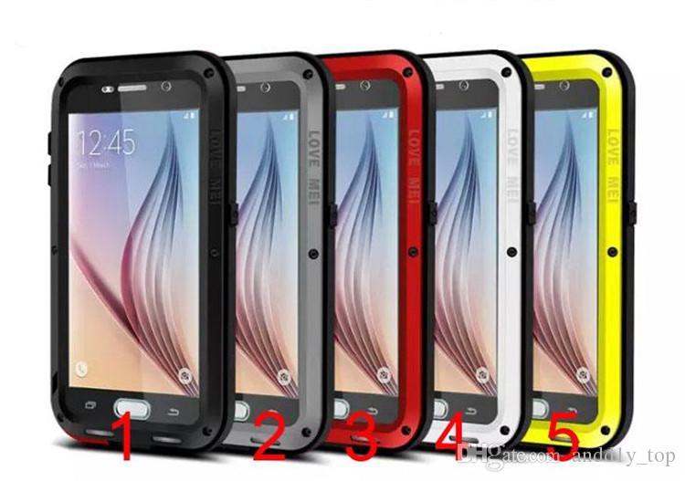 AMOR MEI Metal a prueba de golpes Funda impermeable para Samsung Galaxy S7 S6 Nota de borde 7 A8 A7 Resistencia a los golpes con Gorilla Vidrio templado