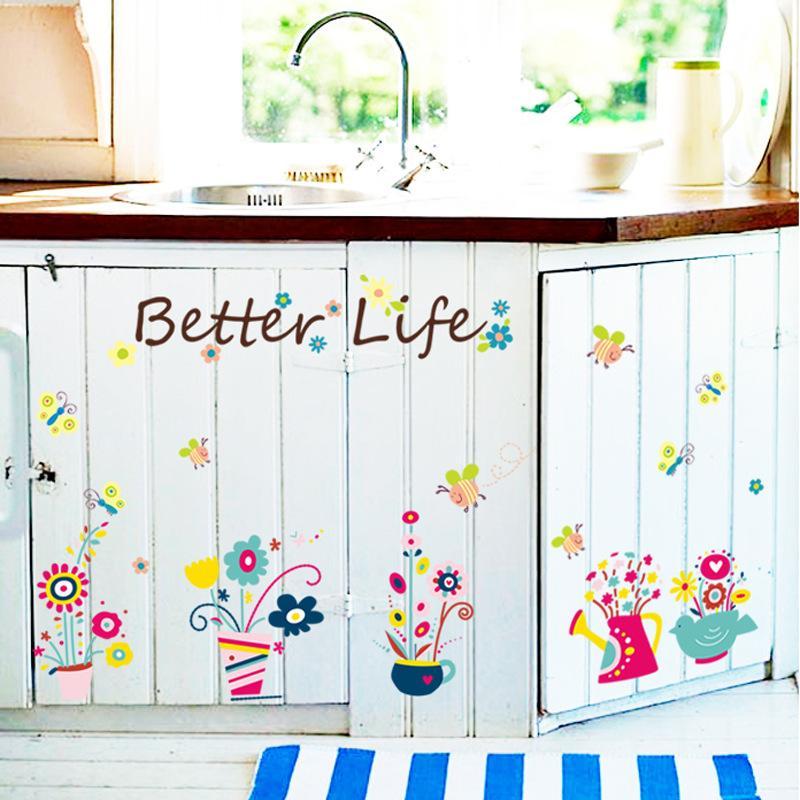 Cartoon Bees Flowerpot Stickers murali Fiori in vaso colorati Wall Art Poster murali Adesivi vetri in vetro Decor PVC trasparente Wallpaper