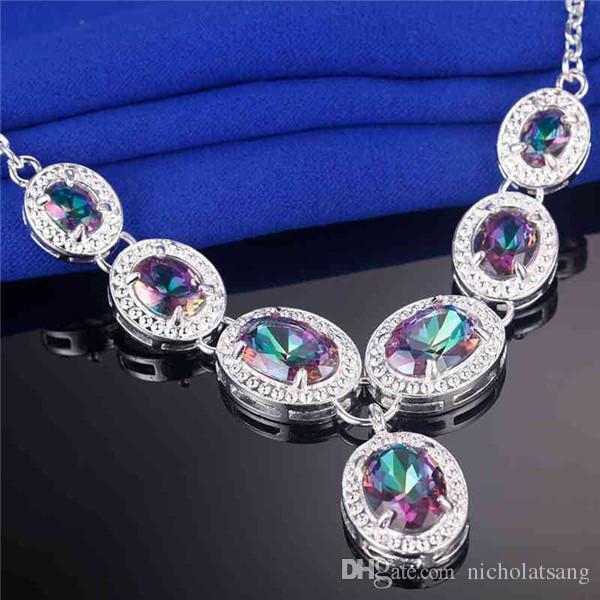 5 pz / set naturale topazio arcobaleno topazio 925 sterling silver set di gioielli le donne orecchino / pendente / collana / anello / braccialetto spedizione gratuita