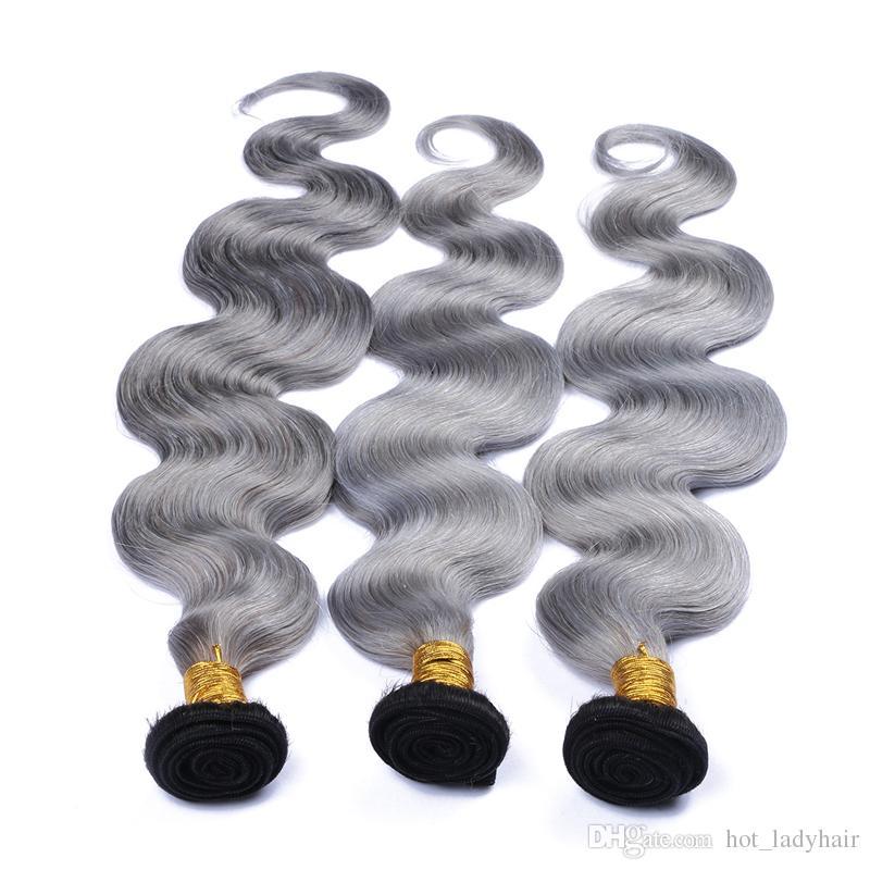 8A Platinum Grey Ombre Hair 3Bundles Dark Roots 1B Grey Ombre Peruvian Hair Tono de dos tonos Wave Hair ondulado