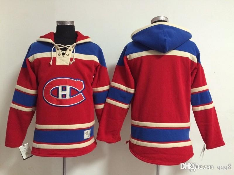 ... Montreal Canadiens Old Time Hockey Jerseys Blank No Name Number Red  Hoodie Pullover Sweatshirts Winter Jacket ... d9800895d