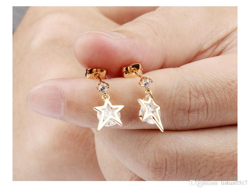 Cubic Zirconia Drop Earrings For Women Gold Plating Earring Woman's Star Fashion Jewelry Wedding Bride Brincos KE650