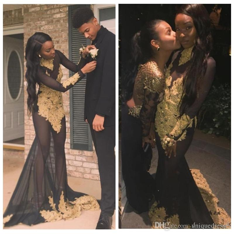 Sexy See Through Black Girls Mermaid Prom Dresses 2018 African High Neck Lace Appliques Long Sleeves Evening Party Gowns