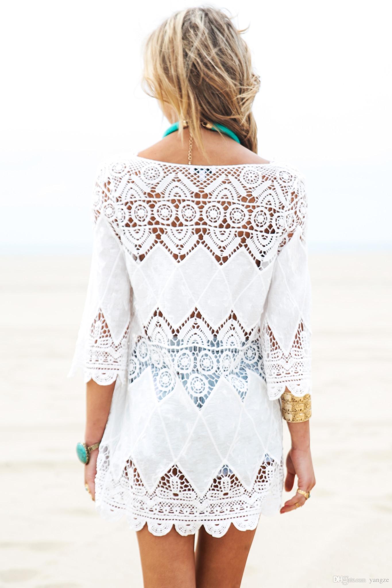 2017 Sexy Women Bikini Cover up Lace Wrap Beach Dress Boho Embroidery White Cover Up for Bikini Swimwear Beach dress Swimsuit Lady 908