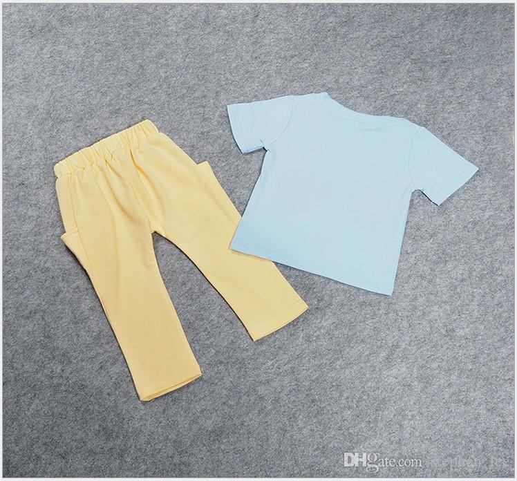2016 Nouveau Bébé Garçons de Bande Dessinée Lunettes Imprimé T-shirt Tops + Pantalon Ensemble Enfants Vêtements Ensembles De Mode Garçon Tenues Enfants D'été Costume 80-120 cm