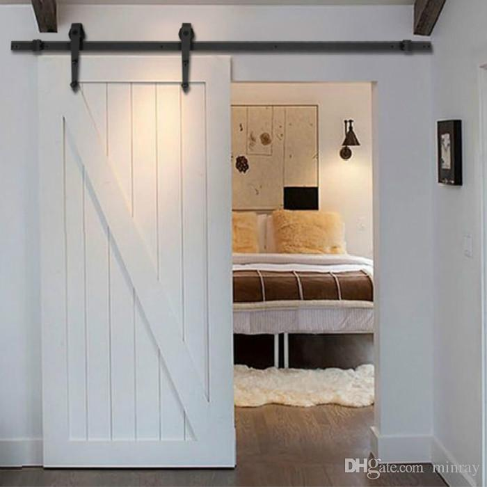 Home DIY Steel Sliding Barn Door Hardware Rustic Wood Door Closet Hardware  5ft/6ft/6.6ft Barn Door Sliding Hardware Online With $124.0/Piece On  Minrayu0027s ...