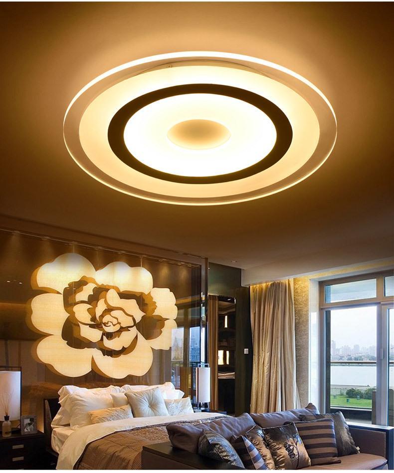 Modern Levou Luzes de Teto Superfície Montado Lâmpada Sala de estar Quarto Redondo Escurecimento Lâmpada Do Teto Casa Luminária Controle Remoto 110 V 220 V
